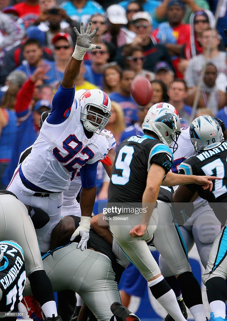 Alex Carrington #92 of the Buffalo Bills attempts turnover block a field goal attempt by <a gi-track='captionPersonalityLinkClicked' href=/galleries/search?phrase=Graham+Gano&family=editorial&specificpeople=4483101 ng-click='$event.stopPropagation()'>Graham Gano</a> #9 of the Carolina Panthers at Ralph Wilson Stadium on September 15, 2013 in Orchard Park, New York. Buffalo won 24-23.