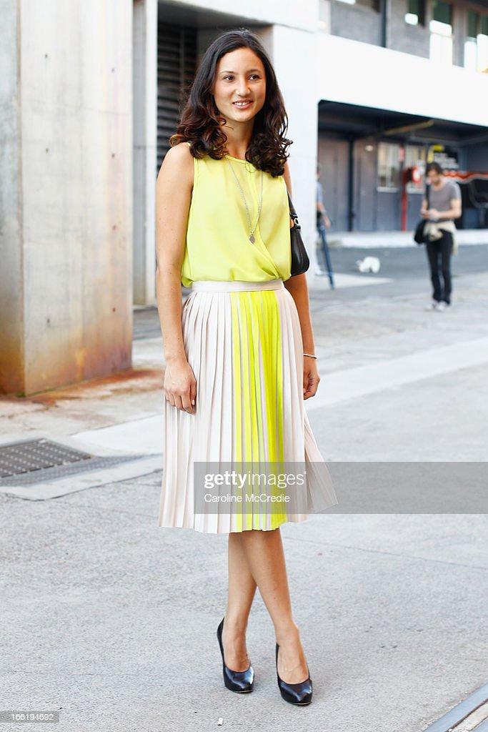 Alex Carroll attends Mercedes-Benz Fashion Week Australia Spring/Summer 2013/14 at Carriageworks on April 10, 2013 in Sydney, Australia.