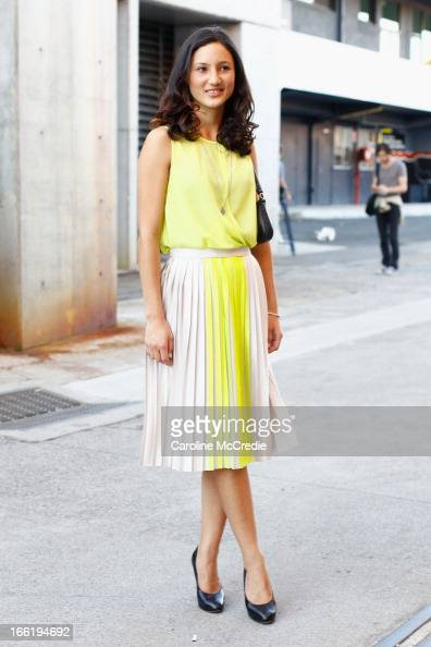 Alex Carroll attends MercedesBenz Fashion Week Australia Spring/Summer 2013/14 at Carriageworks on April 10 2013 in Sydney Australia