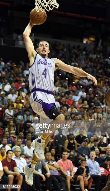 Alex Caruso of the Los Angeles Lakers goes up for a layup against the Portland Trail Blazers during the championship game of the 2017 Summer League...