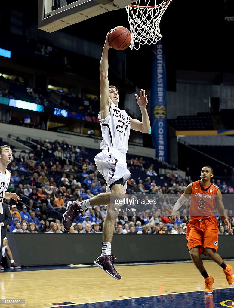 Alex Caruso #21 of the Texas A&M Aggies shoots the ball against the Auburn Tigers during the first round game of the Southeastern Conference Tournament at Bridgestone Arena on March 13, 2013 in Nashville, Tennessee.
