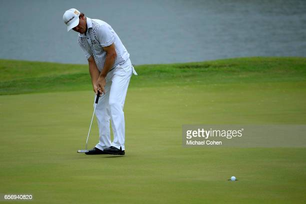 Alex Cejka of Germany attempts his birdie putt on the eighth green during the first round of the Puerto Rico Open at Coco Beach on March 23 2017 in...