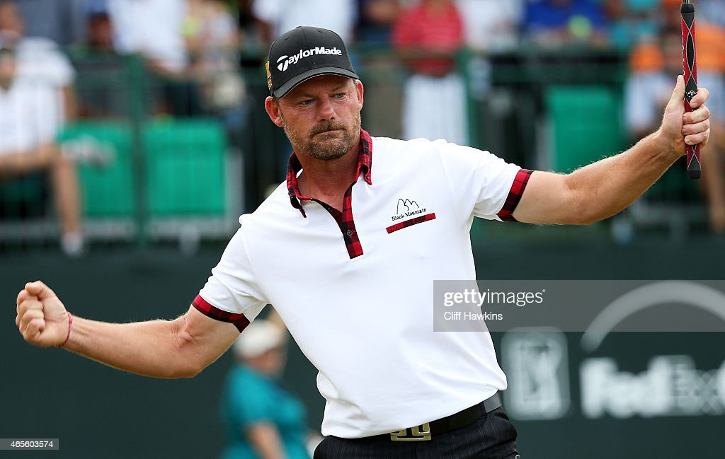 Alex Cejka of Germany celebrates on the 18th green after winning the playoff during the final round of the Puerto Rico Open presented by Banco...