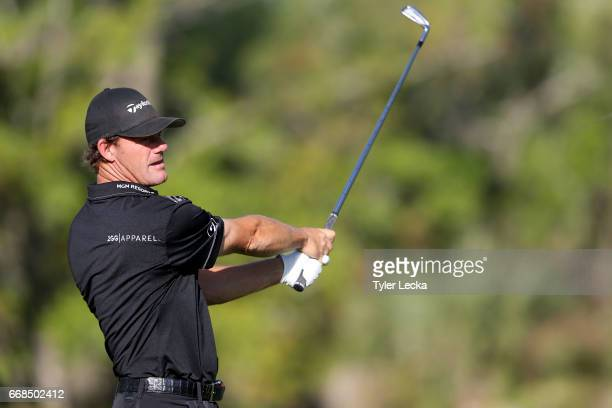 Alex Cejka of Germany hits a shot on the 13th hole during the second round of the 2017 RBC Heritage at Harbour Town Golf Links on April 14 2017 in...