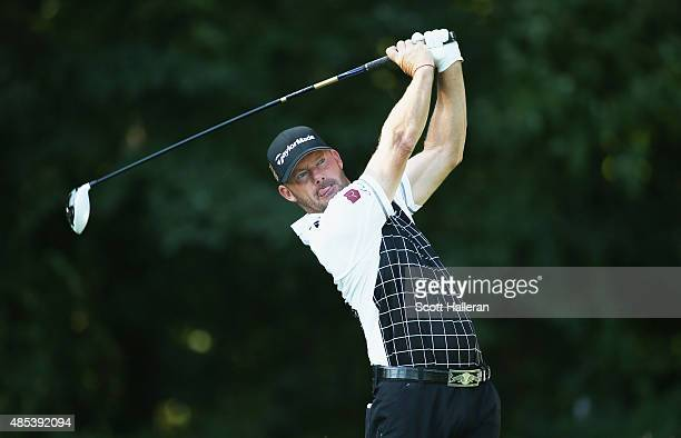 Alex Cejka of Germany hits his tee shot on the fifth hole during the first round of The Barclays at Plainfield Country Club on August 27 2015 in...