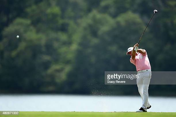 Alex Cejka of Germany hits his tee shot on the ninth hole during the first round of the Barbasol Championship at the Robert Trent Jones Golf Trail at...