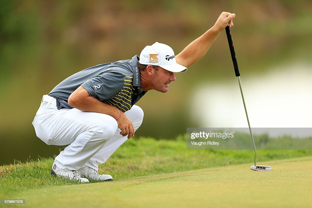 Alex Cejka of Germany lines up a putt on the 18th green during the final round of the RBC Canadian Open at Glen Abbey Golf Club on July 24 2016 in...