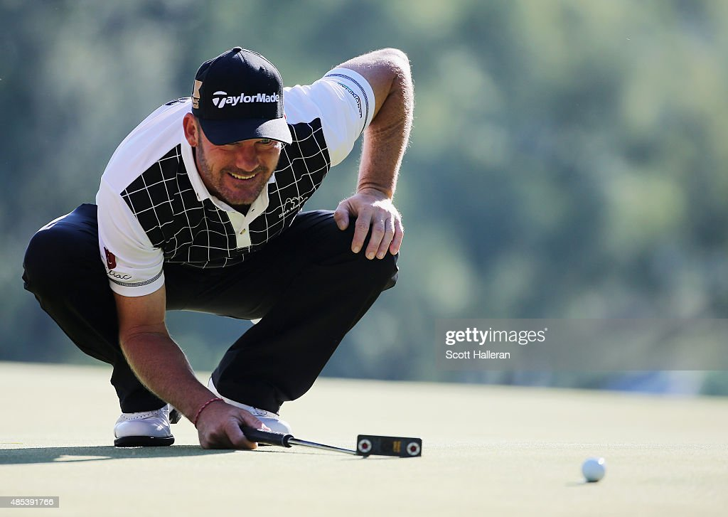 Alex Cejka of Germany lines up a putt on the fourth green during the first round of The Barclays at Plainfield Country Club on August 27 2015 in...