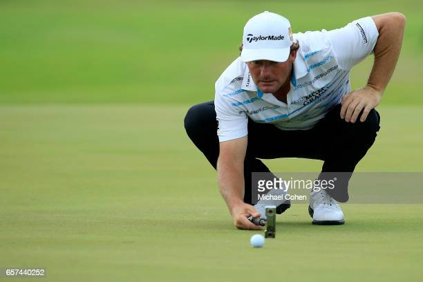 Alex Cejka of Germany lines up his birdie putt on the 13th green during the second round of the Puerto Rico Open at Coco Beach on March 24 2017 in...