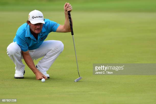 Alex Cejka of Germany lines up his birdie putt on the 18th green during the third round of the Puerto Rico Open at Coco Beach on March 25 2017 in Rio...