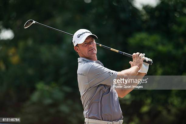 Alex Cejka of Germany plays a shot during round four of the 2016 Venetian Macao Open at Macau Golf and Country Club on October 16 2016 in Macau Macau