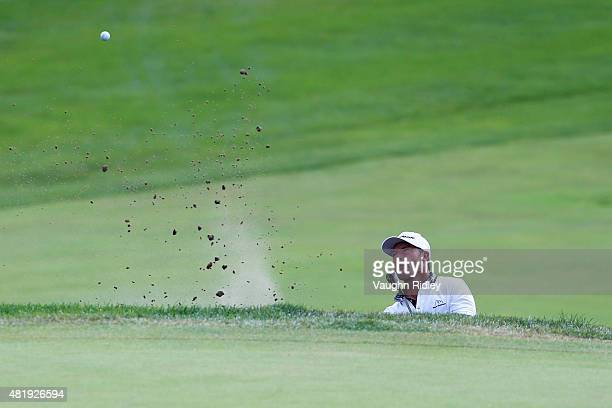 Alex Cejka of Germany plays a shot from a bunker on the 17th hole during round three of the RBC Canadian Open at Glen Abbey Golf Club on July 25 2015...