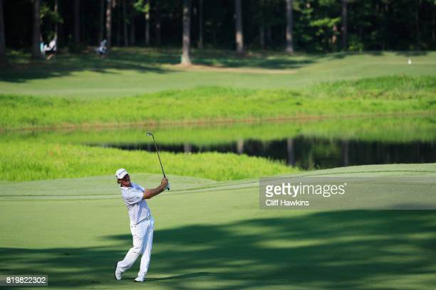 Alex Cejka of Germany plays a shot on the third hole during the first round of the Barbasol Championship at the Robert Trent Jones Golf Trail at...