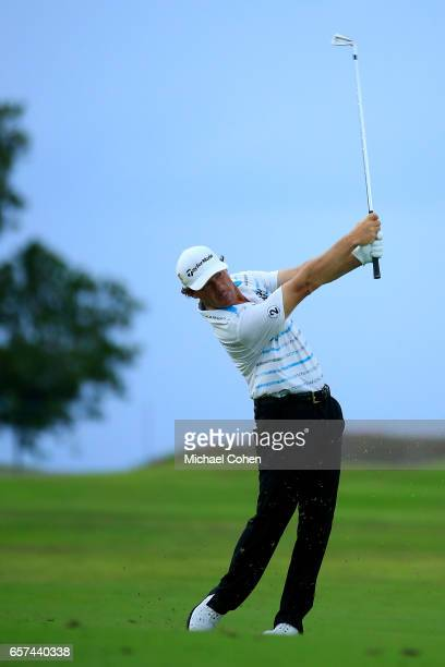 Alex Cejka of Germany plays his second shot on the 13th hole during the second round of the Puerto Rico Open at Coco Beach on March 24 2017 in Rio...