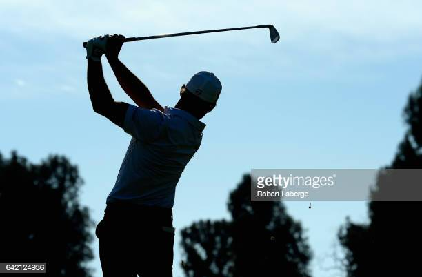 Alex Cejka of Germany plays his shot from the 14th tee during the first round at the Genesis Open at Riviera Country Club on February 16 2017 in...