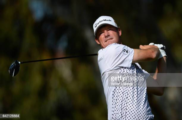 Alex Cejka of Germany plays his shot from the 15th tee during the first round at the Genesis Open at Riviera Country Club on February 16 2017 in...