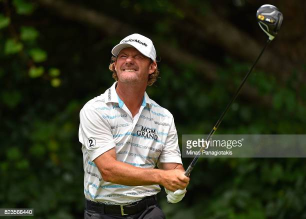 Alex Cejka of Germany plays his shot from the 16th tee during round one of the RBC Canadian Open at Glen Abbey Golf Club on July 27 2017 in Oakville...
