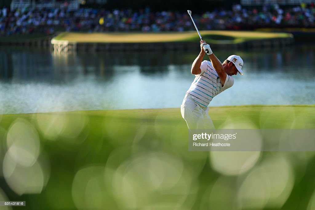 Alex Cejka of Germany plays his shot from the 17th tee during the third round of THE PLAYERS Championship at the Stadium course at TPC Sawgrass on...