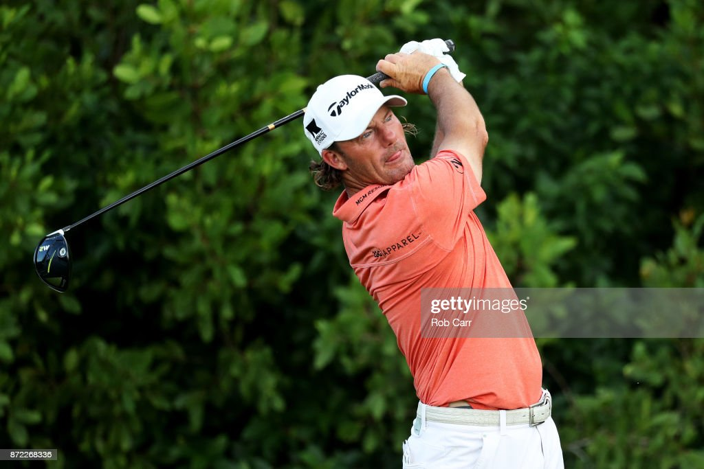 Alex Cejka of Germany plays his shot from the 17th tee during the first round of the OHL Classic at Mayakoba on November 9, 2017 in Playa del Carmen, Mexico.
