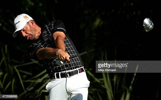 Alex Cejka of Germany plays his shot from the fifth tee during round two of THE PLAYERS Championship at the TPC Sawgrass Stadium course on May 8 2015...