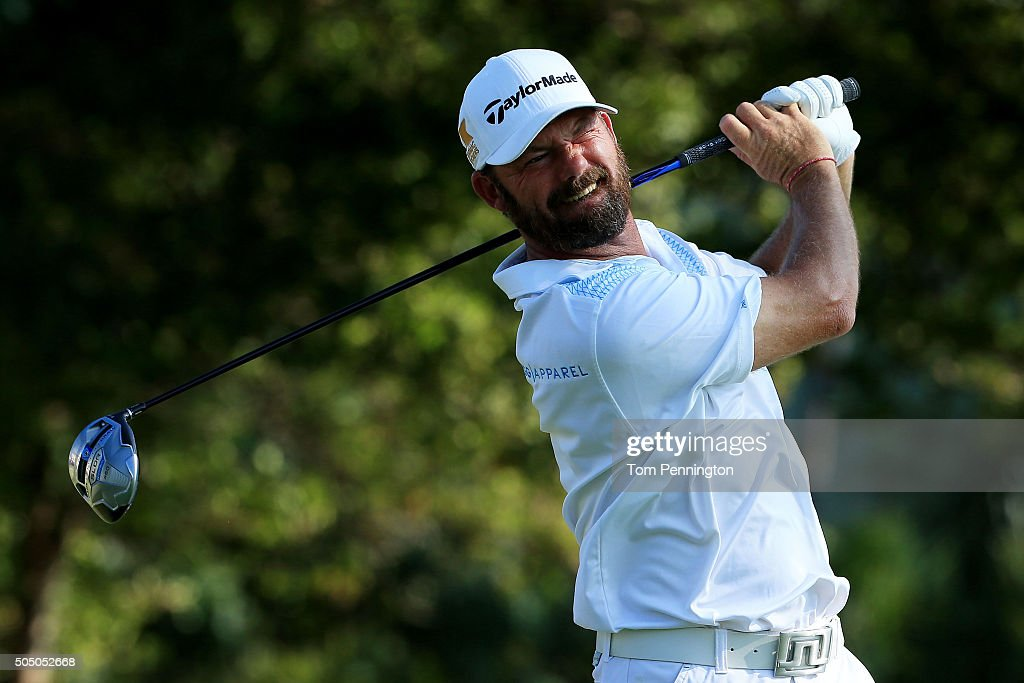 Alex Cejka of Germany plays his shot from the first tee during the first round of the Sony Open In Hawaii at Waialae Country Club on January 14 2016...