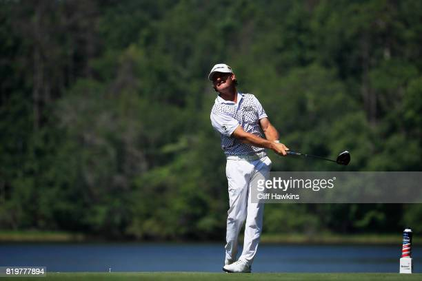 Alex Cejka of Germany plays his shot from the ninth tee during the first round of the Barbasol Championship at the Robert Trent Jones Golf Trail at...