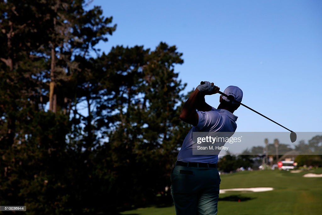 <a gi-track='captionPersonalityLinkClicked' href=/galleries/search?phrase=Alex+Cejka&family=editorial&specificpeople=206573 ng-click='$event.stopPropagation()'>Alex Cejka</a> of Germany plays his tee shot on the 13th hole during round three of the AT&T Pebble Beach National Pro-Am at the Pebble Beach Golf Links on February 13, 2016 in Pebble Beach, California.