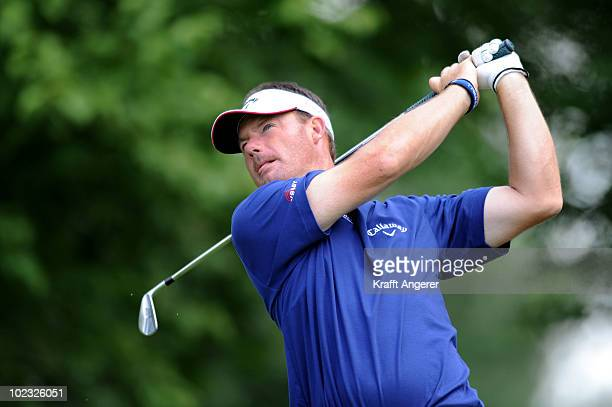Alex Cejka of Germany plays his tee shot on The 16th hole during The ProAm of The BMW International Open Golf at The Munich North Eichenried Golf...