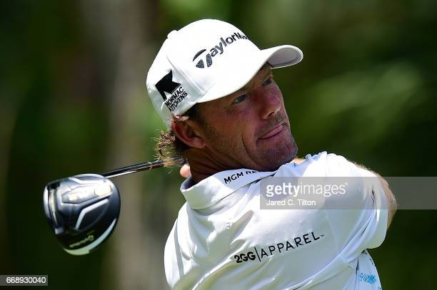 Alex Cejka of Germany plays his tee shot on the fifth hole during the third round of the 2017 RBC Heritage at Harbour Town Golf Links on April 15...