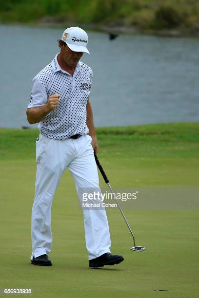 Alex Cejka of Germany reacts after his birdie putt on the eighth green during the first round of the Puerto Rico Open at Coco Beach on March 23 2017...