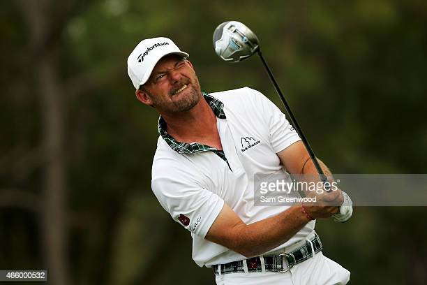 Alex Cejka of Germany reacts after his shot on the 18th tee during the first round of the Valspar Championship at Innisbrook Resort Copperhead Course...