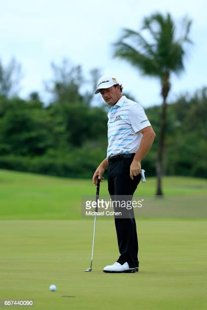 Alex Cejka of Germany reacts after missing his birdie putt on the 13th green during the second round of the Puerto Rico Open at Coco Beach on March...