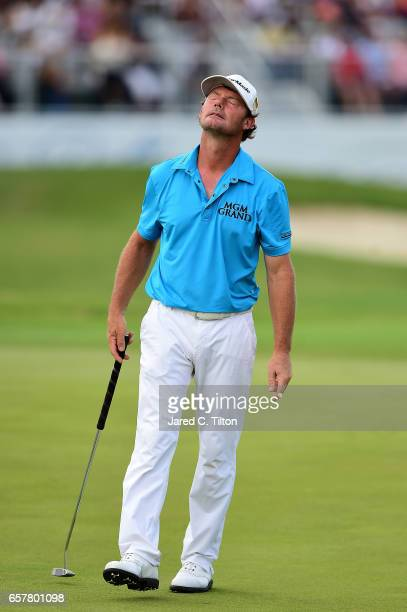 Alex Cejka of Germany reacts after missing his birdie putt on the 18th green during the third round of the Puerto Rico Open at Coco Beach on March 25...