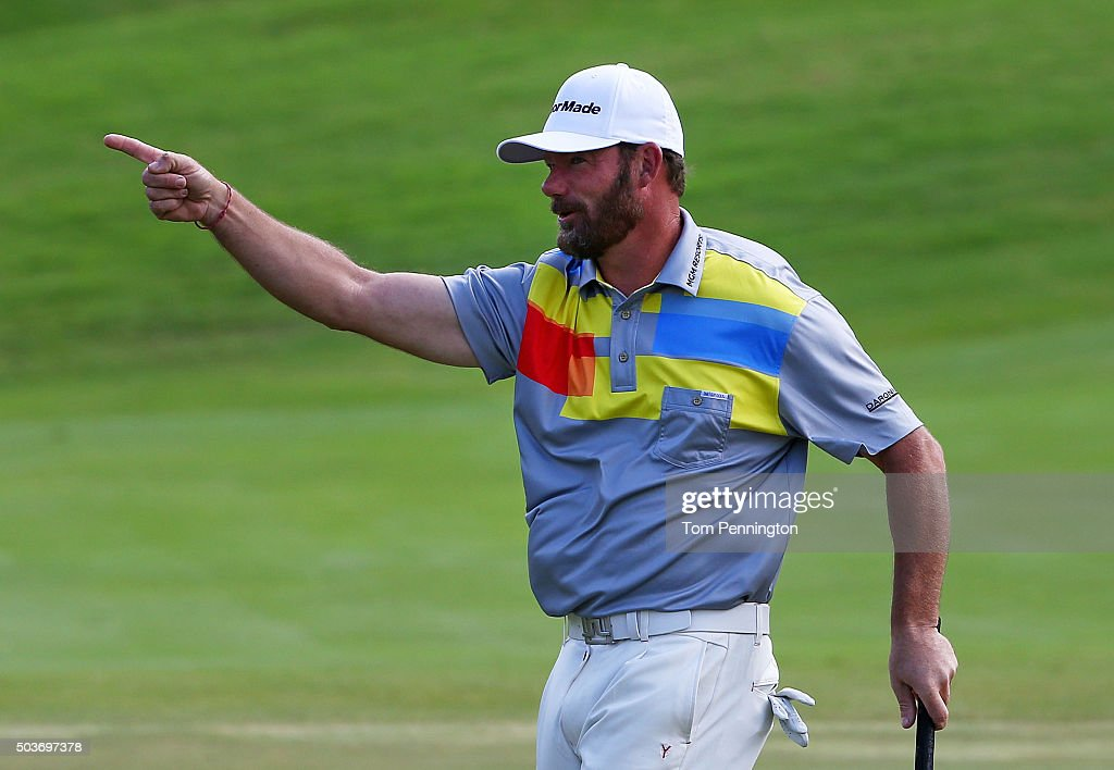 Alex Cejka of Germany reacts during the Hyundai Tournament of Champions ProAm at the Plantation Course at Kapalua Golf Club on January 6 2016 in...