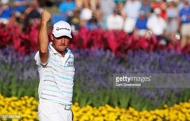 Alex Cejka of Germany reacts to his birdie on the 17th green during the third round of THE PLAYERS Championship at the Stadium course at TPC Sawgrass...