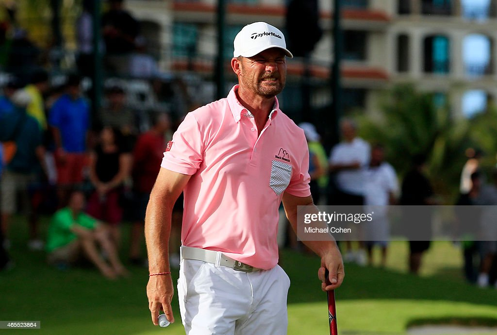 Alex Cejka of Germany reacts to his double bogie on the 18th green during round three of the Puerto Rico Open presented by Banco Popular on March 7...