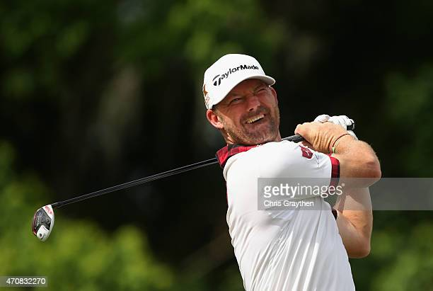 Alex Cejka of Germany tees off on the eighth hole during round one of the Zurich Classic of New Orleans at TPC Louisiana on April 23 2015 in Avondale...