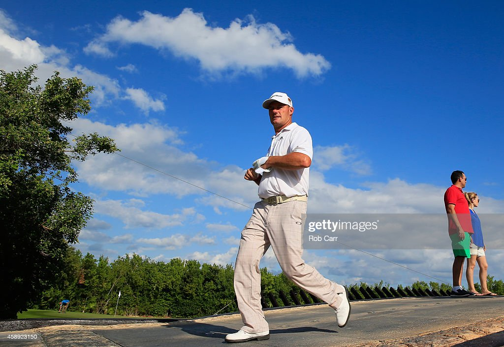 Alex Cejka of Germany walks to the fairway on the 17th hole during the first round of the OHL Classic at Mayakoba on November 13 2014 in Playa del...