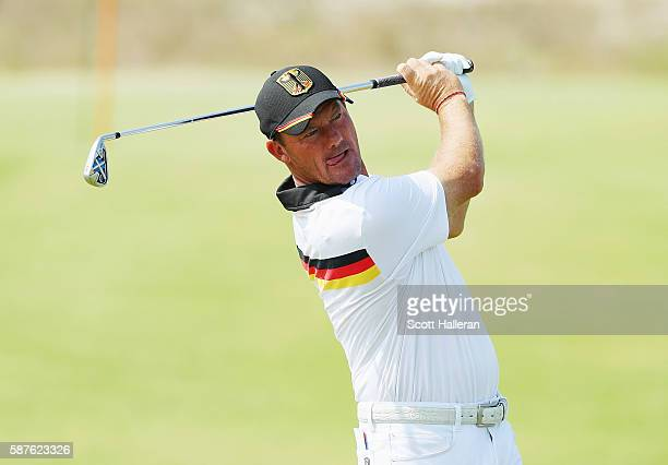Alex Cejka of Germany watches a shot during a practice round on Day 4 of the Rio 2016 Olympic Games at Olympic Golf Course on August 9 2016 in Rio de...