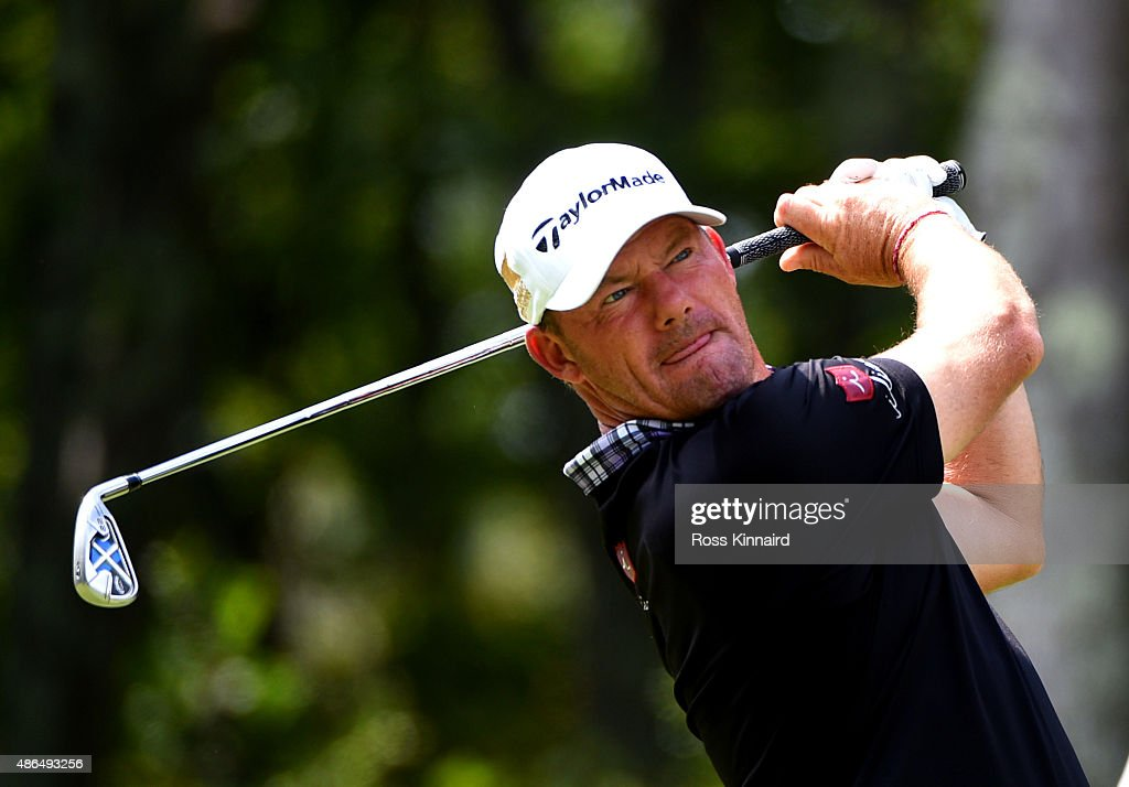 Alex Cejka of Germany watches his tee shot on the eight hole during round one of the Deutsche Bank Championship at TPC Boston on September 4 2015 in...