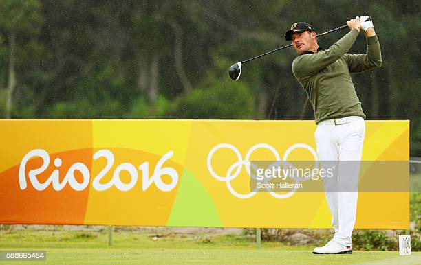 Alex Cejka of Germany watches his tee shot on the third hole during the second round of the golf on Day 6 of the Rio 2016 Olympic Games at the...