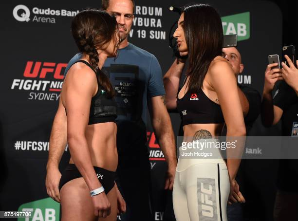 Alex Chambers of Australia and Nadia Kassem face off during the UFC Fight Night weighin on November 18 2017 in Sydney Australia