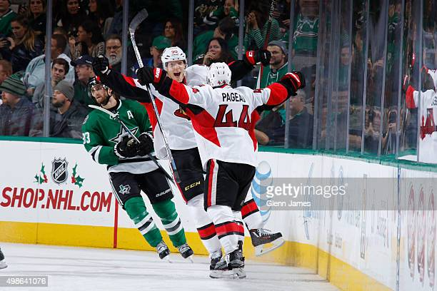 Alex Chiasson and JeanGabriel Pageau of the Ottawa Senators celebrate a goal against the Dallas Stars at the American Airlines Center on November 24...