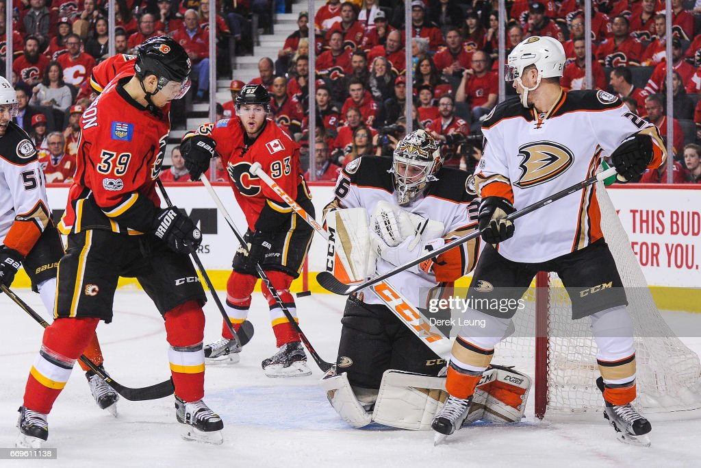 Alex Chiasson #39 of the Calgary Flames shoots the puck at the net of John Gibson #36 of the Anaheim Ducks in Game Three of the Western Conference First Round during the 2017 NHL Stanley Cup Playoffs at Scotiabank Saddledome on April 17, 2017 in Calgary, Alberta, Canada.