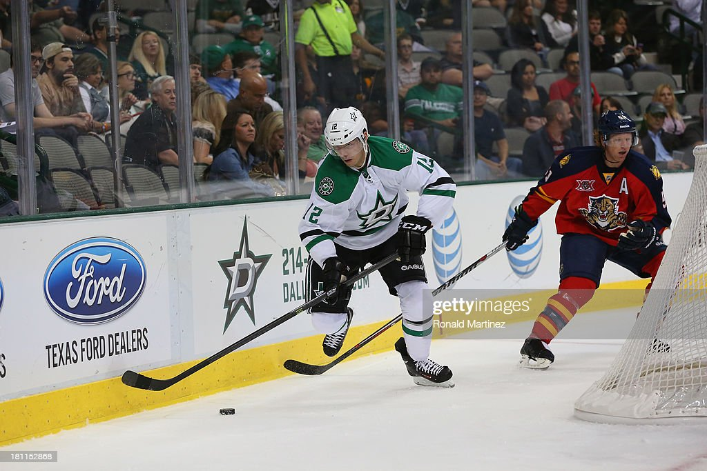 Alex Chiasson #12 of the Dallas Stars during a preseason game at American Airlines Center on September 18, 2013 in Dallas, Texas.