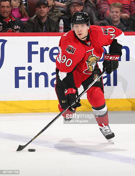 Alex Chiasson of the Ottawa Senators skates against the Toronto Maple Leafs at Canadian Tire Centre on March 21 2015 in Ottawa Ontario Canada