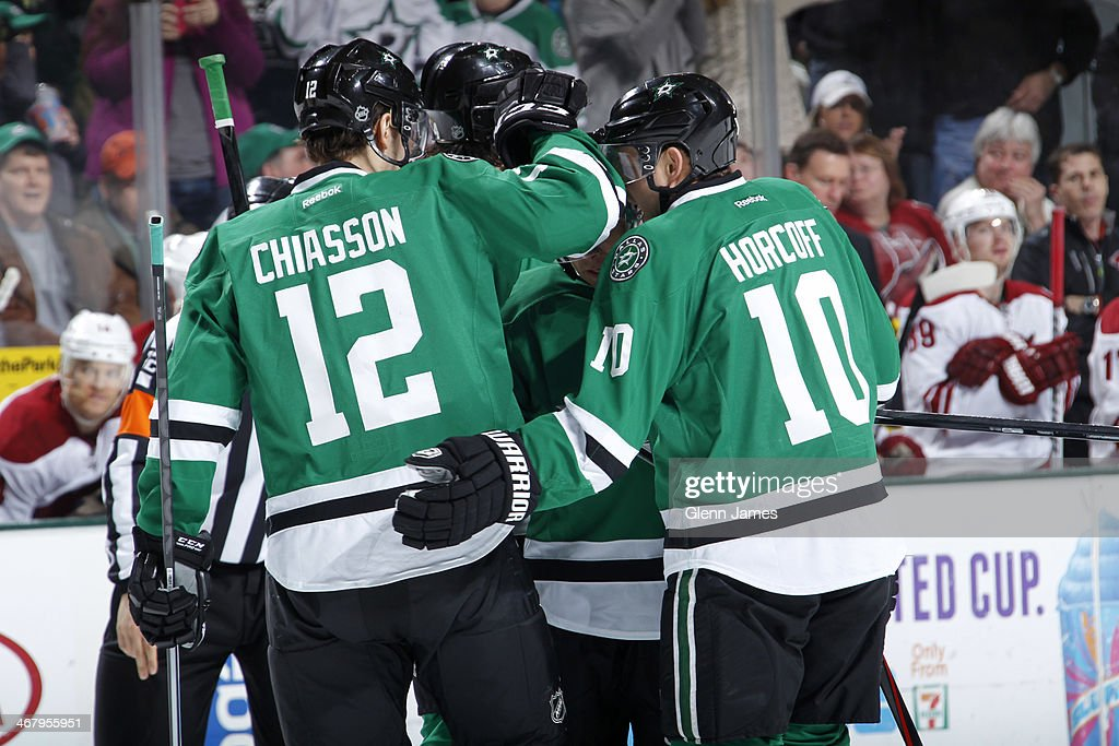 Alex Chiasson Shawn Horcoff and the Dallas Stars celebrate a goal against the Phoenix Coyotes at the American Airlines Center on February 8 2014 in...