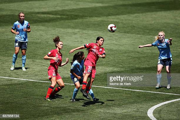 Alex Chidiac of Adelaide United wins the ball in the air during the round 14 WLeague match between Adelaide United and Sydney FC at Coopers Stadium...