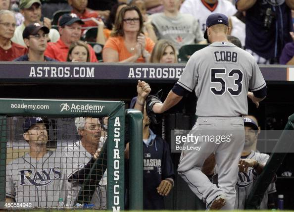 Alex Cobb of the Tampa Bay Rays leaves the game in the seventh inning against the Houston Astros at Minute Maid Park on June 13 2014 in Houston Texas