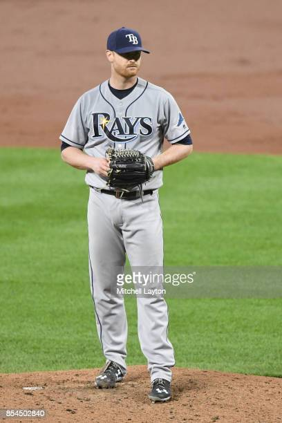 Alex Cobb of the Tampa Bay Rays pitches during a baseball game against the Baltimore Orioles at Oriole Park at Camden Yards on September 22 2017 in...